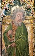 Medieval paintings of saints on rood screen inside church of Saint Andrew, Bramfield, Suffolk, England, UK - Saint Luke