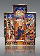Gothic painted Panel Altarpiece of Saint Barbara by Goncal Peris Sarria. Tempera and gold leaf on wood. Date Circa 1410-1425. Dimesions 278 x 207.7 x 17 cm. At the beginning of the 20th century, the altarpiece was kept in the parish church of Puertomingalvo (Teruel), but it could originally have come from the chapel of Santa Bárbara near this town. This altarpiece is attributed to the painter Gonçal Peris Sarrià, one of the chief representatives of Valencian International Gothic. His style is marked by expressive and picturesque elements, the flowing line and the charm of the colour. The main compartment of the altarpiece represents the titular saint with her distinctive attributes –the tower, in allusion to her imprisonment, and the palm, as she is considered a martyr-- and above her the Calvary. On either side are depicted various episodes from the life of Saint Barbara, who was called on to keep away lightning and storms. . National Museum of Catalan Art, Barcelona, Spain, inv no: 035672-CJT .<br /> <br /> If you prefer you can also buy from our ALAMY PHOTO LIBRARY  Collection visit : https://www.alamy.com/portfolio/paul-williams-funkystock/romanesque-art-antiquities.html<br /> Type -     MNAC     - into the LOWER SEARCH WITHIN GALLERY box. Refine search by adding background colour, place, subject etc<br /> <br /> Visit our ROMANESQUE ART PHOTO COLLECTION for more   photos  to download or buy as prints https://funkystock.photoshelter.com/gallery-collection/Medieval-Romanesque-Art-Antiquities-Historic-Sites-Pictures-Images-of/C0000uYGQT94tY_Y