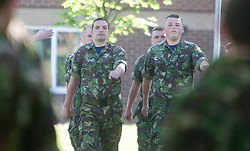 Practising marching..Exercise Guards Warrior with the Scots Guards at their Catterick base..Pic ©2010 Michael Schofield. All Rights Reserved.