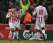 Bojan Krkic of Stoke City (l) celebrates his penalty goal   during the English Premier League match at the Bet 365 Stadium, Stoke on Trent. Picture date: December 17th, 2016. Pic Simon Bellis/Sportimage