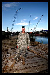 28 August 2006 - New Orleans - Louisiana. Lakeview. Colonel Bedey, Commander of the Hurricane Protection office, Army Corps of Engineers at the head of the 17th Steet canal, close to where the levee breached, destroying the mostly white, affluent area of Lakeview. Bedey assures us that the current levee system is as good as, and up to at least the same strength as the pre Katrina levees. Not really all that good news a year later, considering the level of protection the last lot of levees gave the city!