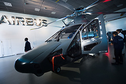 The forthcoming Airbus light defense Helicopter for military uses, 'The Guepard' has been presented in Marignane Airbus headquarters (close to Marseille) on May the 27, 2019. It will fly two years earlier from the initial schedule, 2026 instead of 2028. Airbus has presented the first full scale model this day. The inter army lightweight secured Helicopter program represent 2,000 Jobs for Airbus Helicopters. Photo by Clement Mahoudeau / ABACAPRESS.COM