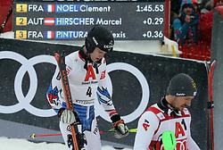 26.01.2019, Streif, Kitzbühel, AUT, FIS Weltcup Ski Alpin, Slalom, Herren, Siegerehrung, im Bild Clement Noel (FRA) und Marcel Hirscher (AUT) gehen zum Ausgang // Clement Noel (FRA) und Marcel Hirscher (AUT) gehen zum Ausgang during the winner Ceremony for the men's Slalom of FIS Ski Alpine World Cup at the Streif in Kitzbühel, Austria on 2019/01/26. EXPA Pictures © 2019, PhotoCredit: EXPA/ SM<br /> <br /> *****ATTENTION - OUT of GER*****
