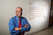 Environmental portrait of University of Arkansas journalism professor Gerald Jordan in Fayetteville, Ark.