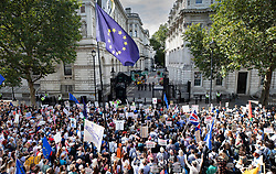 © Licensed to London News Pictures. 31/08/2019. London, UK. Demonstrators on the Stop The Coup march fill Whitehall outside Downing Street as they protest against the government's plans to close Parliament early ahead of the party conference season. Photo credit: Peter Macdiarmid/LNP