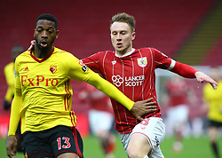 January 6, 2018 - Watford, England, United Kingdom - L-R Watford's Molla Wague and Bristol City's Cauley Woodrow..during FA Cup 3rd Round match between Watford  and Bristol  City at Vicarage Road Stadium, Watford ,  England 06 Jan 2018. (Credit Image: © Kieran Galvin/NurPhoto via ZUMA Press)