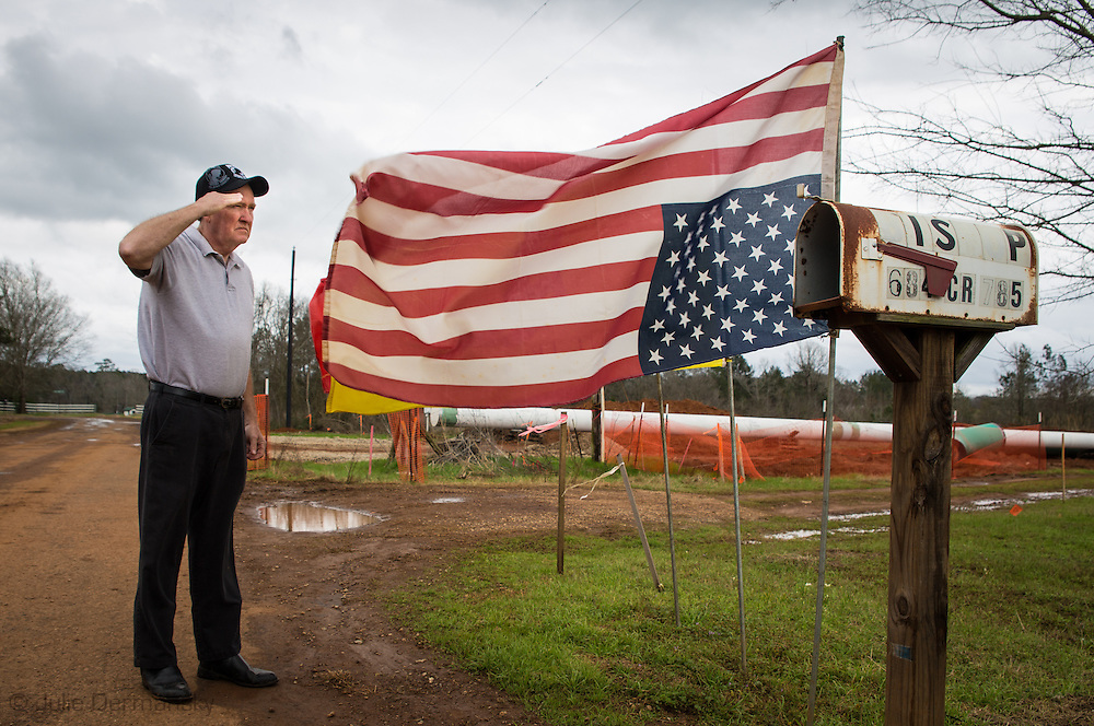Douglas, Texas, February 19, Mike Bishop's American flag flying upside down in front of his property. He flies his flag upside down to show his property is under distress as TransCanada installs the Keystone XL pipeline against his will.