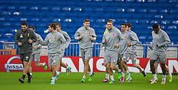 MADRID, SPAIN - Monday, November 3, 2014: Liverpool's captain Steven Gerrard and Rickie Lambert during a training session at the Estadio Santiago Bernabeu ahead of the UEFA Champions League Group B match against  Real Madrid CF. Ryland Morgan, Joe Allen, Steven Gerrard Rickie Lambert, Trent Alexander-Arnold, Kolo Toure. (Pic by David Rawcliffe/Propaganda)