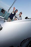The Artemis Challenge at Aberdeen Asset Management Cowes Week 2014. <br /> Zara Phillips on the Artemis<br /> <br /> FREE for editorial use. Credit: Lloyd Images