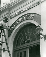 1939 United Artists sign being replaced by Samuel Goldwyn Studios sign