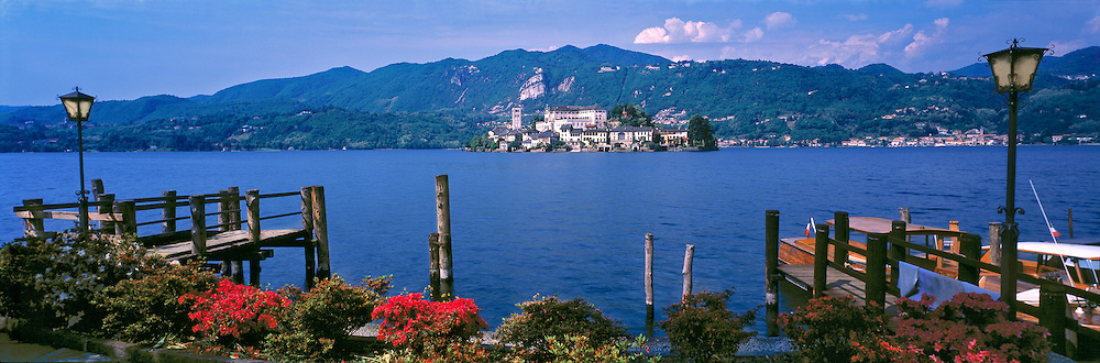 A basilica stands on the Isola San Guilio off Orta San Guilio on Lago d'Orta in northern Italy. ©Ric Ergenbright