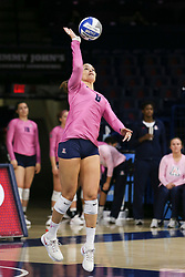 October 7, 2018 - Tucson, AZ, U.S. - TUCSON, AZ - OCTOBER 07: Arizona Wildcats outside hitter Kendra Dahlke (8) serves the ball during a college volleyball game between the Arizona Wildcats and the Washington State Cougars on October 07, 2018, at McKale Center in Tucson, AZ. Washington State defeated Arizona 3-2. (Photo by Jacob Snow/Icon Sportswire) (Credit Image: © Jacob Snow/Icon SMI via ZUMA Press)