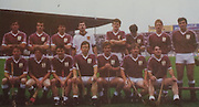 All Ireland Senior Hurling Championship Final,.07.09.1986, 09.07.1986, 7th September, 1986,.07091986AISHCF,.Cork 4-13, Galway 2-15,.Minor Cork v Offaly,.Senior Cork v Galway,..Back Row from left, Steve Mahon, Brendan Lynskey, Pierce Pigott, John Commins, Pete Finnerty, Martin Naughton, Tony Keady, Conor Hayes, .Front row, Ollie Kilkenny, Joe Cooney, Ger McInerney, Tony Kilkenny, Noel Lane captain, Sylvie Linnane, Anthony Cunningham,