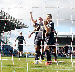 Falkirk's Myles Hippolyte celebrates after scoring their second goal. Falkirk 2 v 0 Dunfermline, Scottish Challenge Cup played 7/9/2017 at The Falkirk Stadium.