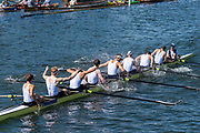"""Henley on Thames, United Kingdom, 8th July 2018, Sunday, Final. """"The Princess Elizabeth Challenge Cup"""", left, """"St Paul's School"""", leading, """"Eton College""""  """"Fifth day"""", of the annual,  """"Henley Royal Regatta"""", Henley Reach, River Thames, Thames Valley, England, © Peter SPURRIER,"""