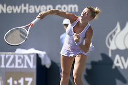 August 21, 2018 - New Haven, CT, USA - Camila Giorgi of Italy serves against Belinda Bencic of Switzerland during their second-round match at the Connecticut Open Tennis Tournament in New Haven, Conn., on Tuesday, Aug. 21, 2018. Bencic advanced, 6-4, 6-4. (Credit Image: © John Woike/TNS via ZUMA Wire)