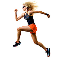 one caucasian beautiful long blond hair woman runner jogger jogging running studio shot isolated on white background