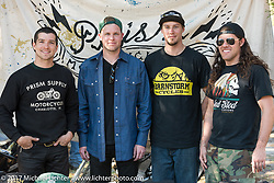 (L>R) Jake and Zach Hindes of Prism Motorcycles, <br /> Jake Cutler of Barnstorm Cycles and Brad Gregory at Chemical Candy Custom's Boogie East Chopper Show at Annie Oakley's Saloon during Daytona Beach Bike Week. FL. USA. Friday March 17, 2017. Photography ©2017 Michael Lichter.