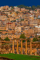 Ruins of the Greco-Roman city of Gerasa, with the modern city of Jerash behind (near Amman), Jordan.