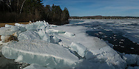 Composite of two images showing Leslie Roberts Beach in Belmont with large ice chunks washed up on the shore of Lake Winnisquam due to strong winds throughout this week.  (Karen Bobotas/for the Laconia Daily Sun)