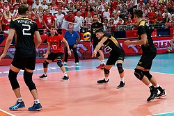 23-09-2019 NED: EC Volleyball 2019 Poland - Germany, Apeldoorn<br /> 1/4 final EC Volleyball - Poland win 3-0 / Simon Hirsch #13 of Germany, Julian Zenger #10 of Germany