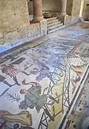 Wide picture of the Ambulatory corridor of the Great Hunt Roman mosaic and the entrance to the audience hall, room no 28, at the Villa Romana del Casale, first quarter of the 4th century AD. Sicily, Italy. A UNESCO World Heritage Site.<br /> <br /> The Great Hunt ambulatory is around 60 meters long (200 Roman feet) and connects the master's northern apartments with the triclinium in the south. The door in the centre of the the Great Hunt ambulatory leads to audience hall. <br /> <br /> The Great Hunt Roman mosaic depicts African animals being hunted and put onto ships to be taken to the Colosseum. .<br /> <br /> If you prefer to buy from our ALAMY PHOTO LIBRARY  Collection visit : https://www.alamy.com/portfolio/paul-williams-funkystock/villaromanadelcasale.html<br /> Visit our ROMAN MOSAIC PHOTO COLLECTIONS for more photos to buy as buy as wall art prints https://funkystock.photoshelter.com/gallery/Roman-Mosaics-Roman-Mosaic-Pictures-Photos-and-Images-Fotos/G00008dLtP71H_yc/C0000q_tZnliJD08