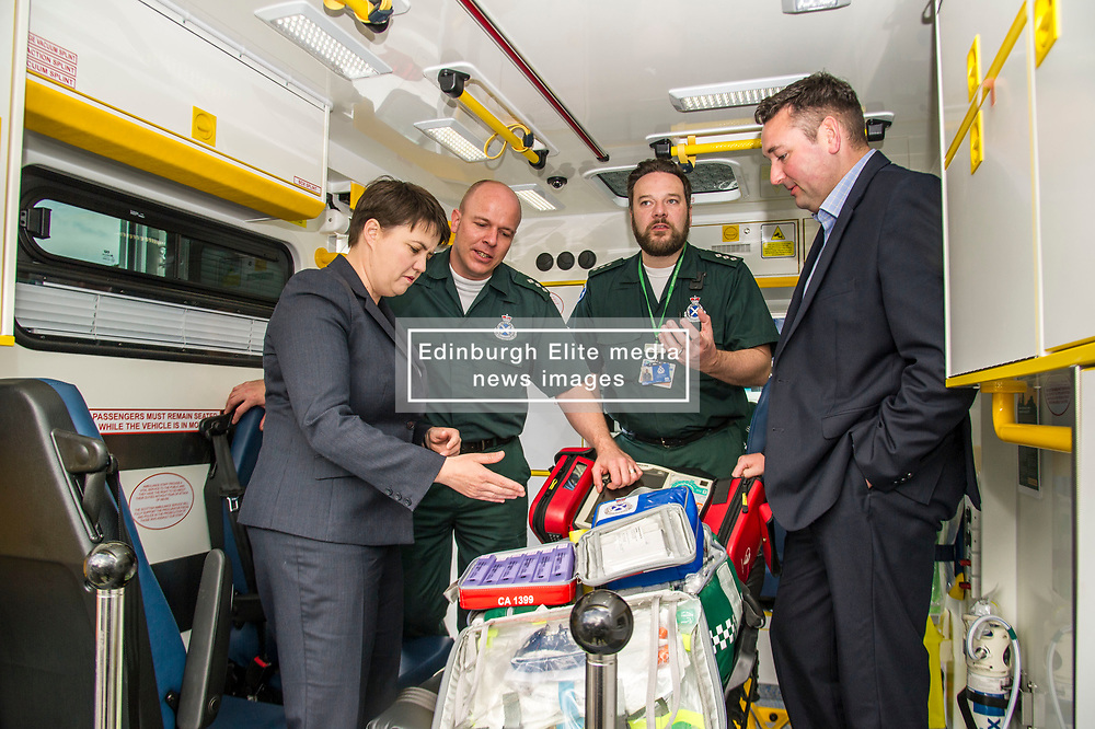 Pictured: Ruth Davidson; Richard Paton; Callum Johnston (beard) and Mike Briggs.<br /> <br /> Scottish Conservative leader Ruth Davidson, MSP,  joined shadow health secretary Miles Briggs to launch the party's Health Advisory Board at the Scottish ASmbulance Service Southeast Divisional HQ.  Ms Davidson and Mr Briggs were shown the equipment in the average ambulance by Richard Paton, Ambulance Service manager and Callum Johnston, Specialist medic.<br /> <br /> Ger Harley   EEm 6 September 2017
