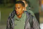 Celtic's Scott Sinclair (#11) as he steps off the team coach at Parkhead ahead of the Europa League match between Celtic and Rennes at Celtic Park, Glasgow, Scotland on 28 November 2019.