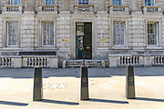 A general view of the Whitehall Cabinet Office in London, Wednesday, March 25, 2020. British lawmakers will voted to shut down Parliament for 4 weeks, due to the coronavirus outbreak. The new coronavirus causes mild or moderate symptoms for most people, but for some, especially older adults and people with existing health problems, it can cause more severe illness or death. (Photo/Vudi Xhymshiti)