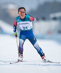 March 12, 2018 - Pyeongchang, South Korea - GRACE MILLER of the US crosses the finish line during Cross Country competition at the Alpensia Biathlon Center at the 2018 Pyeongchang Winter Paralympic Games. (Credit Image: © Mark Reis via ZUMA Wire)
