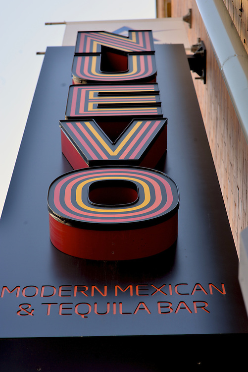 Exterior sign for Nuevo Modern Mexican & Tequila Bar.