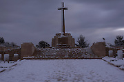 Israel, Jerusalem, Commonwealth World War I cemetery on Mt. Scopus, covered with snow Winter, January 2007