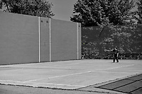 A lone man at the North Meadow Recreation Center in Central Park.