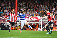 Queens Park Rangers Midfielder Luke Freeman (7) in action during the EFL Sky Bet Championship match between Brentford and Queens Park Rangers at Griffin Park, London, England on 21 April 2018. Picture by Stephen Wright.