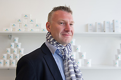 © London News Pictures. 15/05/15. London, UK. Michal Takac, MD of Carun UK is photographed in the UK's first cannabis pharmacy, Twickenham, West London.Carun UK, which will be based in Twickenham, London, aims to 'harness the healing super-powers of hemp' which is claims is the 'ultimate skin saviour and well-being booster'.<br />