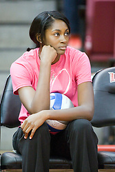 13 October 2012: Victoria Brown during an NCAA volleyball game between the Drake Bulldogs and the Illinois State Redbirds.  The Redbirds won the match in 3 straight sets at Redbird Arena in Normal Illinois