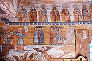 Naive folk christian frescoes in the interior of the Orthodox Wooden Church of the Church on The Hill, Maramures, Northern Transylvania, Romania, UNESCO World Heritage Site .<br /> <br /> Visit our ROMANIA HISTORIC PLACXES PHOTO COLLECTIONS for more photos to download or buy as wall art prints https://funkystock.photoshelter.com/gallery-collection/Pictures-Images-of-Romania-Photos-of-Romanian-Historic-Landmark-Sites/C00001TITiQwAdS8<br /> .<br /> Visit our MEDIEVAL PHOTO COLLECTIONS for more   photos  to download or buy as prints https://funkystock.photoshelter.com/gallery-collection/Medieval-Middle-Ages-Historic-Places-Arcaeological-Sites-Pictures-Images-of/C0000B5ZA54_WD0s