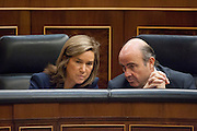 Ana Mato, minister of health service and Luis de Guindos, minister of treasury