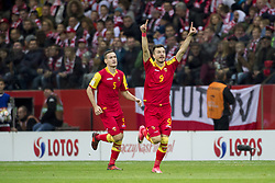 October 8, 2017 - Warsaw, Poland - Stefan Mugosa of Montenegro celebrates his score during the FIFA World Cup 2018 Qualifying Round Group E match between Poland and Montenegro at National Stadium in Warsaw, Poland on October 8, 2017  (Credit Image: © Andrew Surma/NurPhoto via ZUMA Press)