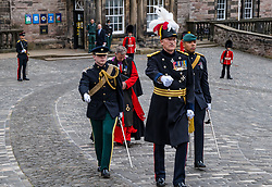 Installation of Edinburgh Castle Govenor, Edinburgh Castle, Edinburgh, Scotland, United Kingdom 23  June 2021: <br /> Installation as Governor of Edinburgh Castle: the dress rehearsal takes place for the ceremony which will be held tomorrow, two years after the handover of the position to Maj Gen Alastair Bruce of Crionaich.  The ceremony was delayed due to Covid-19. The role of Governor is a historic one, dating back to 1067. Maj Gen Bruce is also a Sky News commentator. Representative form all Scottish military regiments are involved, in a ceremony that takes a new curtailed form only within the castle due to Covid restrictions. Pictured: the new Governor marches into the inner part of the castle.<br /> Sally Anderson | EdinburghElitemedia.co.uk