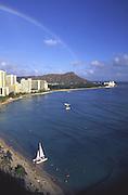 Rainbow, Waikiki Beach, Oahu, Hawaii<br />