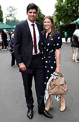 Alastair Cook and Alice Cook arrive on day eight of the Wimbledon Championships at The All England Lawn Tennis and Croquet Club, Wimbledon.