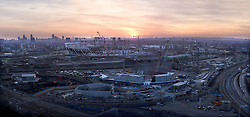 Olympic Park. Panoramic view at sunset of construction on the Olympic Stadium and Aquatics Centre. Picture taken on 16 March 2009 by David Poultney.