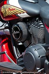 Carey Hart's Indian Chieftain that he personally customized. Photographed during Daytona Bike Week. Daytona Beach, FL. USA. Friday March 10, 2017. Photography ©2017 Michael Lichter.