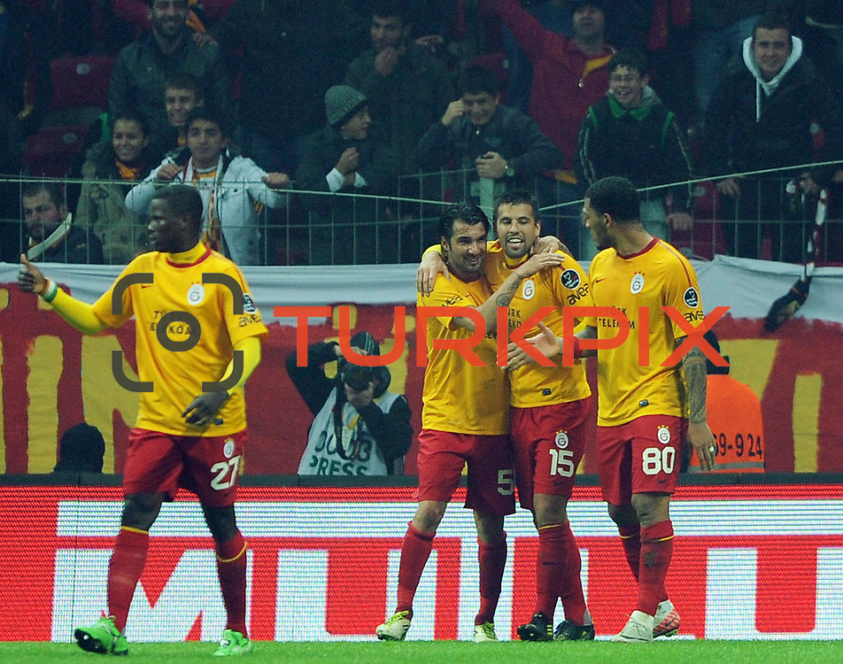 Galatasaray's Milan Baros (2ndR) celebrate his goal with team mate during their Turkish Super League soccer match Galatasaray between IBBSpor at the TT Arena at Seyrantepe in Istanbul Turkey on Tuesday, 03 January 2012. Photo by TURKPIX