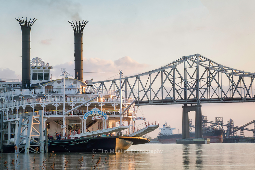 The paddle wheeler, American Queen, departs from the dock in Baton Rouge, La. as the steamboat begins sailing south to New Orleans, La.