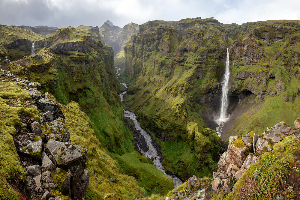 Panoramic view from the viewpoint at Múlagljúfur canyon in south-east Iceland