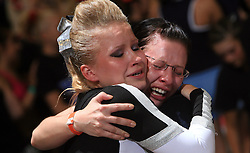 Girls of Germany happy during final ceremony at second day of European Cheerleading Championship 2008, on July 6, 2008, in Arena Tivoli, Ljubljana, Slovenia. (Photo by Vid Ponikvar / Sportal Images).