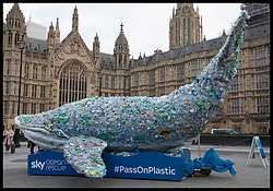 February 6, 2018 - London, London, United Kingdom - Image licensed to i-Images Picture Agency. 06/02/2018. London, United Kingdom. A whale made of plastic bottles outside the Houses of Parliament in London to encourage MP's to use less plastic. It is part of an campaign called Sky Ocean Rescue. (Credit Image: © Stephen Lock/i-Images via ZUMA Press)