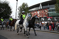 Police on horseback patrol outside Emirates Stadium before k/o. UEFA Champions league group A match, Arsenal v FC Basel at the Emirates Stadium in London on Wednesday 28th September 2016.<br /> pic by John Patrick Fletcher, Andrew Orchard sports photography.